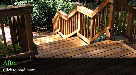 Eugene roof care and wood care- after picture of deck