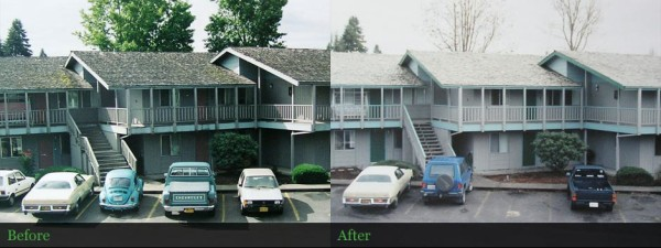 Apartment complex roof cleaned